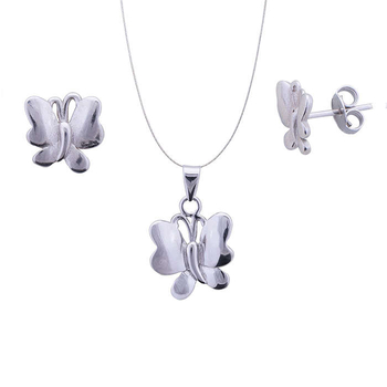 Silver Shine 92.5 Sterling Silver Silver Butterfly pendant set for Women & Girls