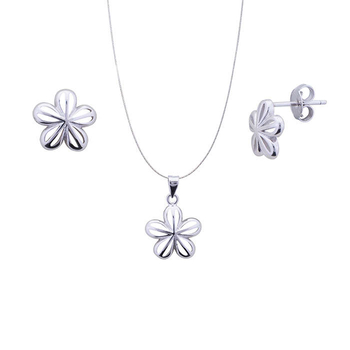Silver Shine 92.5 Sterling Silver Open Flower Silver pendant set for Women & Girls