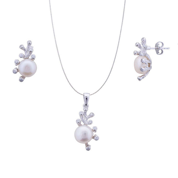Silver Shine 92.5 Sterling Silver Beautiful Pearl pendant set for Women & Girls