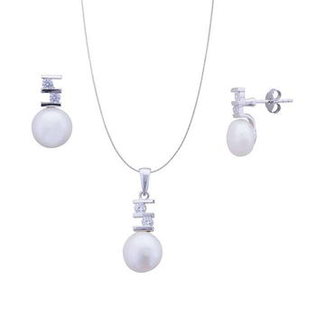 Silver Shine 92.5 Sterling Silver S Design With Pearl pendant set for Women & Girls