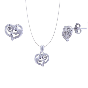 Silver Shine 92.5 Sterling Silver Delicate Heart Love pendant set for Women & Girls