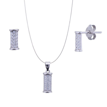 Silver Shine 92.5 Sterling Silver Illuminate Diamond pendant set for Women & Girls
