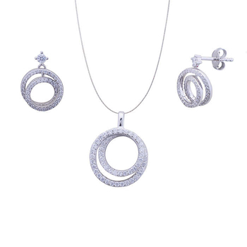 Silver Shine 92.5 Sterling Silver Diamond Circle Silver Pandent Set for Women & Girls