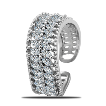 Silver Shine 92.5 Sterling Silver Diamond Cocktail Ring In Silver for Women & Girls