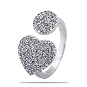 Silver Shine 92.5 Sterling Silver New Heart Cocktail Ring for Women & Girls