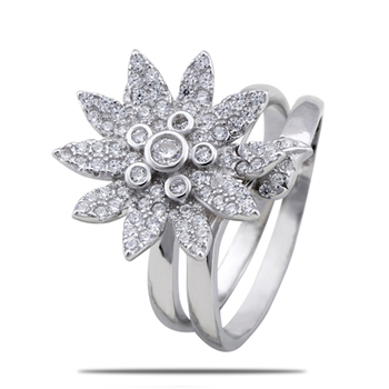 Silver Shine 92.5 Sterling Silver Flower Cocktail Silver Ring for Women & Girls