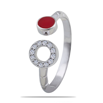 Silver Shine 92.5 Sterling Silver Red And Open Circle Silver Ring for Women & Girls