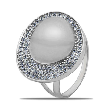 Silver Shine 92.5 Sterling Silver Diamond Larg Cocktail Ring for Women & Girls