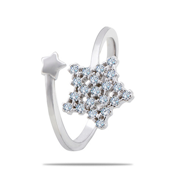 Silver Shine 92.5 Sterling Silver Star Diamond Ring for Women & Girls