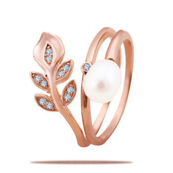Silver Shine 92.5 Sterling Silver Pearl Rose Gold Ring for Women & Girls