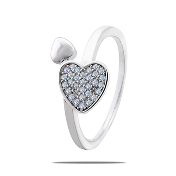 Silver Shine 92.5 Sterling Silver Silver Diamond Heart Ring for Women & Girls