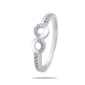 Silver Shine 92.5 Sterling Silver Diamond Eight Silver Ring for Women & Girls