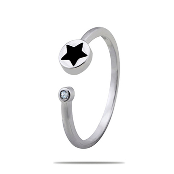Silver Shine 92.5 Sterling Silver Black Star Silver Ring for Women & Girls