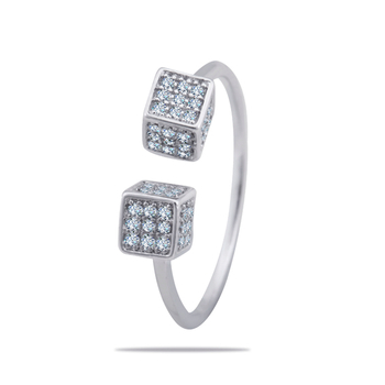 Silver Shine 92.5 Sterling Silver Open Square Sterling Silver Ring  for Women & Girls