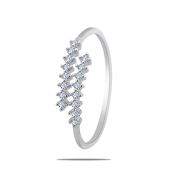 Silver Shine 92.5 Sterling Silver Open Silver Diamonds Ring  for Women & Girls