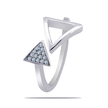 Silver Shine 92.5 Sterling Silver Open Triangle And Diamonds Silver Ring  for Women & Girls