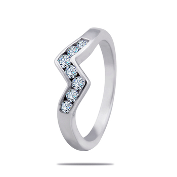 Silver Shine 92.5 Sterling Silver Dancing Diamond Silver Ring  for Women & Girls