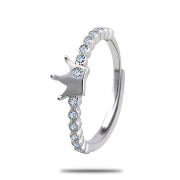 Silver Shine 92.5 Sterling SilverDiamonds Queen Silver Ring  for Women & Girls.