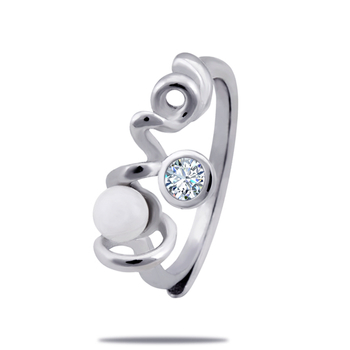 Silver Shine 92.5 Sterling Silver Pearl With Love Silver Ring  for Women & Girls.