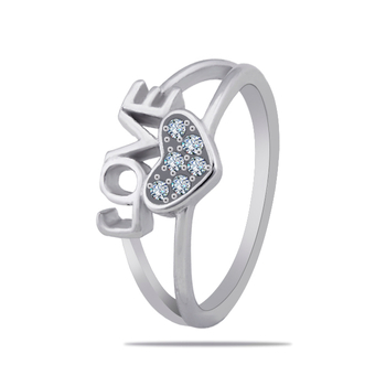 Silver Shine 92.5 Sterling SilverLove With Heart Diamonds Silver Ring  for Women & Girls.