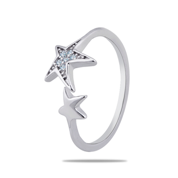 Silver Shine 92.5 Sterling Silver Star And Star Open Silver Ring  for Women & Girls.