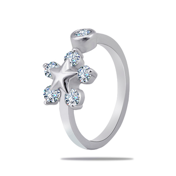 Silver Shine 92.5 Sterling Silver Star With Diamonds Silver Ring  for Women & Girls.