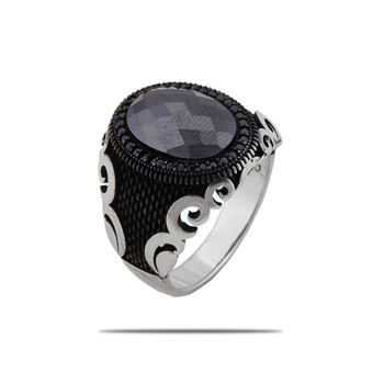 Silver Shine 92.5 Sterling Silver  Black Diamonds Silver Ring   for Mens