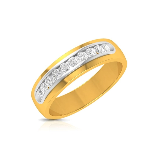 Charu Jewels Diamond Ring Made with 4.65 Gms 18 Kt Yellow Gold And 0.29 Carat Diamonds