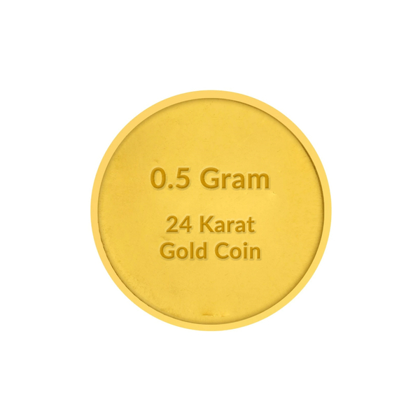 24 Karat 500 MiliGram Gold Coin BIS Hallmarked