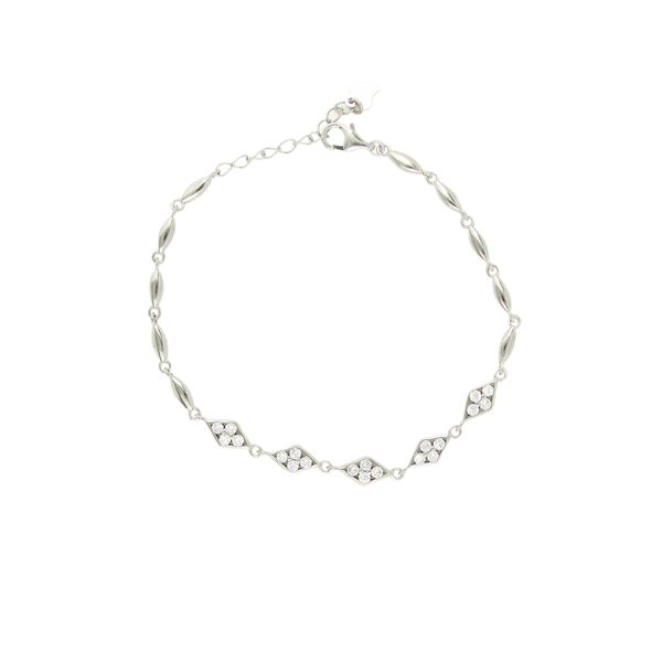 Silver Bracelet with Sparkling Stones in a Diamond-Shaped Bezel