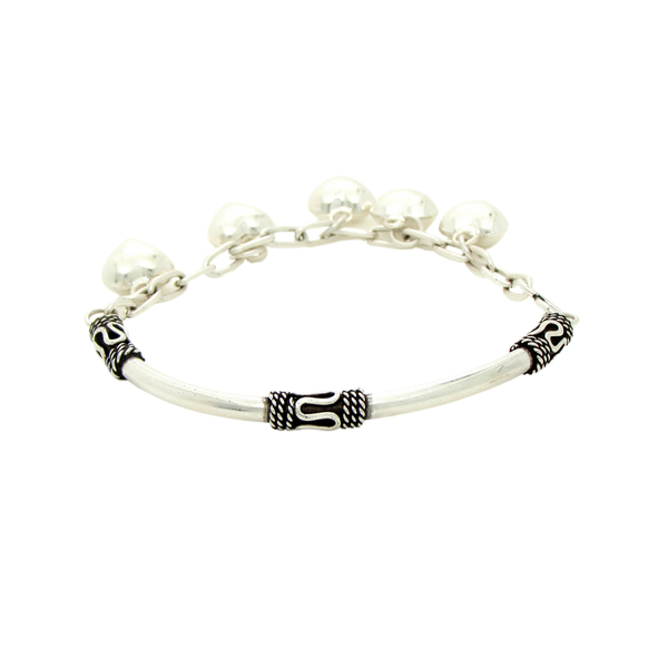 Half Bangle Chain Silver Bracelet with Tibetan and Heart Charms
