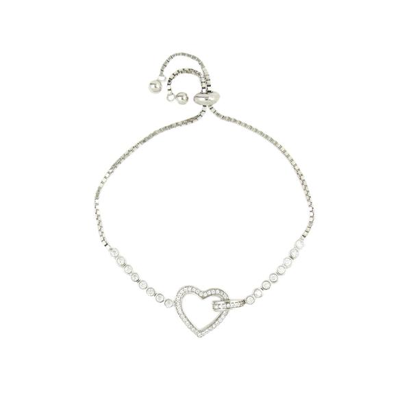 Gem-Studded Heart Charm in a Silver Chain Bracelet