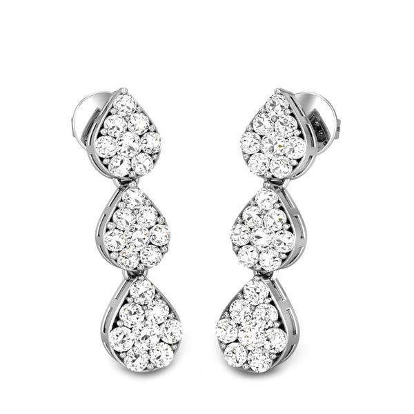 Candere by Kalyan Jewellers White Gold Star Drops Ziah Diamond Earrings for Women (IGI Certified Diamonds)