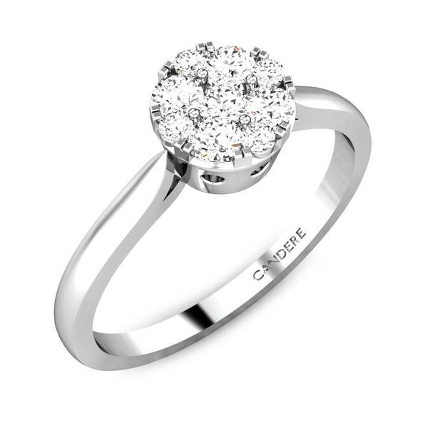 Candere By Kalyan Jewellers 14k (585) BIS Hallmark White Gold Lucrecia Ziah Diamond Ring (IGI Certified)