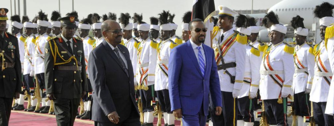Ethiopian Prime Minister Abiye Ahmed and Sudanese President Omar Al-Bashir review the guard of honor in Khartoum, Sudan, on 2 May 2018. Abiye was in Khartoum for a two-day official visit to discuss bilateral cooperation and mutual concern. Courtesy of Xin