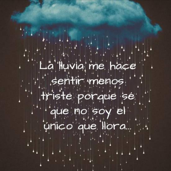 Imágenes de la frase: La lluvia me hace sentir menos triste porque sé que no soy el único que llora...