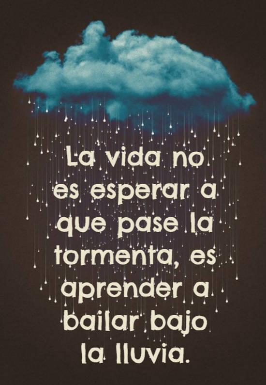 La vida no es esperar a que pase la tormenta, es aprender a bailar bajo la lluvia.