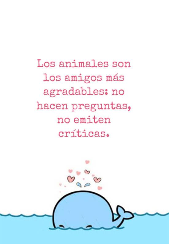 Los animales son los amigos más agradables: no hacen preguntas, no emiten críticas.