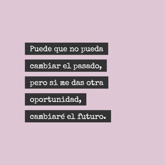 Puede que no pueda cambiar el pasado, pero si me das otra oportunidad, cambiaré el futuro.