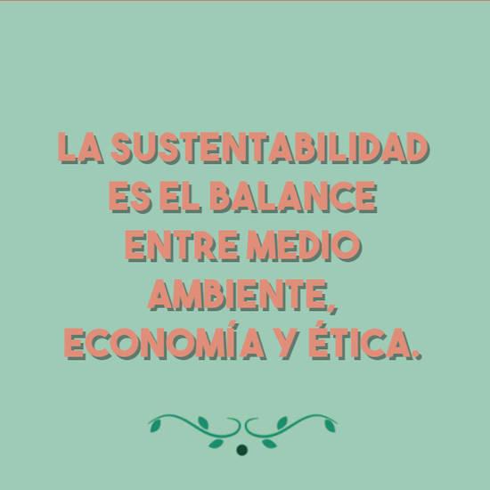 La sustentabilidad es el balance entre medio ambiente, economía y ética.