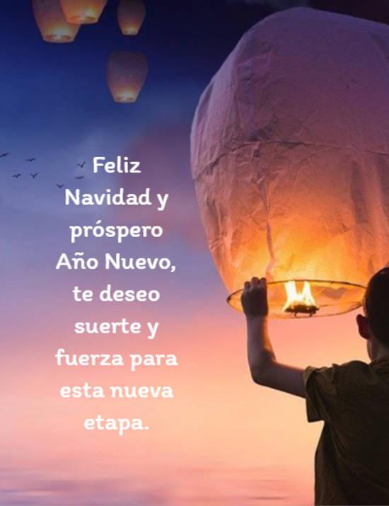 Feliz Navidad y próspero Año Nuevo, te deseo suerte y fuerza para esta nueva etapa.