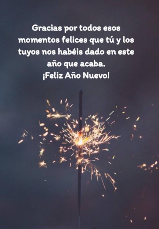 Gracias por todos esos momentos felices que tú y los tuyos nos habéis dado en este año que acaba.  ¡Feliz Año Nuevo!
