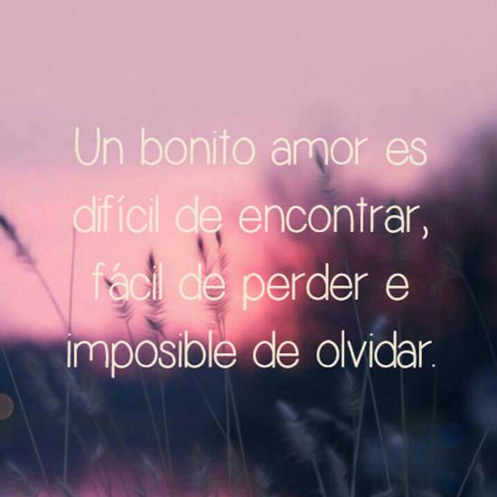 Un bonito amor es difícil de encontrar, fácil de perder e imposible de olvidar.