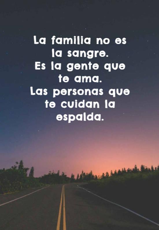 La familia no es la sangre.  Es la gente que te ama.  Las personas que te cuidan la espalda.