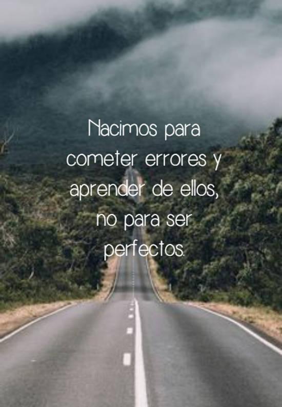 Nacimos para cometer errores y aprender de ellos, no para ser perfectos.