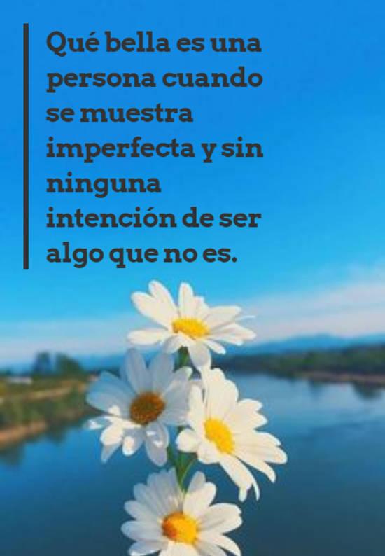Qué bella es una persona cuando se muestra imperfecta y sin ninguna intención de ser algo que no es.