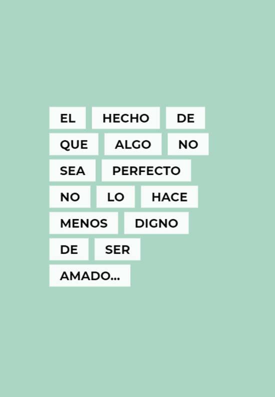 El hecho de que algo no sea perfecto no lo hace menos digno de ser amado...
