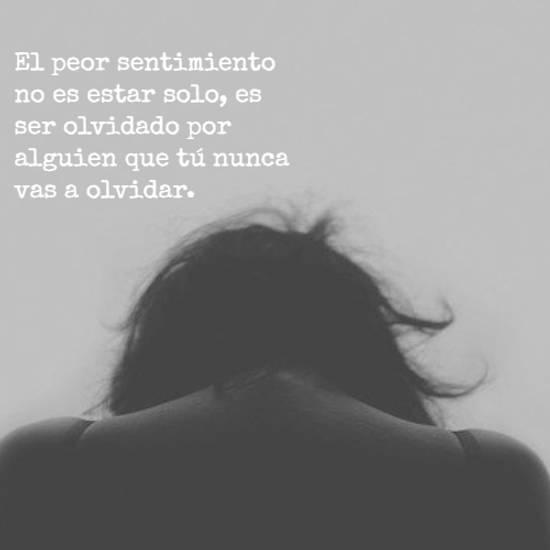 El peor sentimiento no es estar solo, es ser olvidado por alguien que tú nunca vas a olvidar.