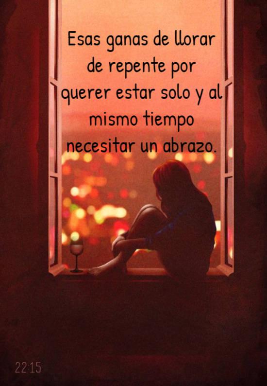 Esas ganas de llorar de repente por querer estar solo y al mismo tiempo necesitar un abrazo.