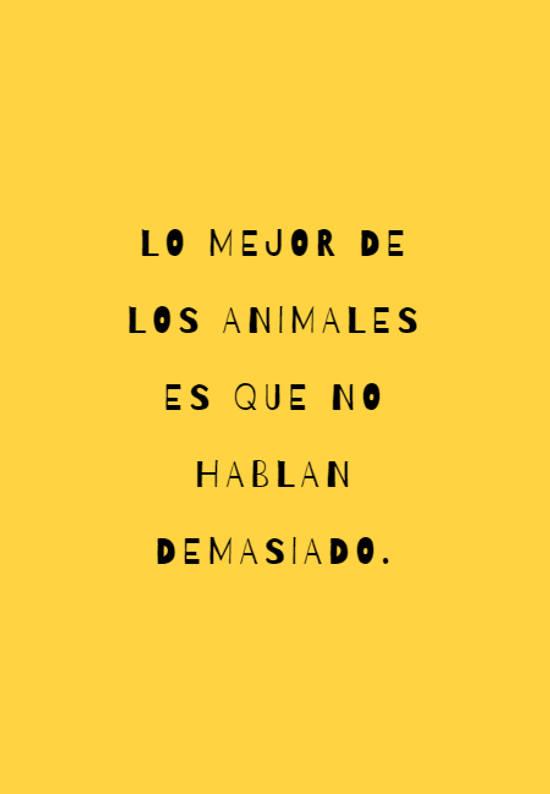 Lo mejor de los animales es que no hablan demasiado.